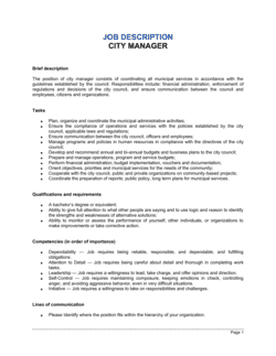City Manager Job Description