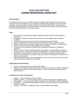 Human Resources Assistant Job Description
