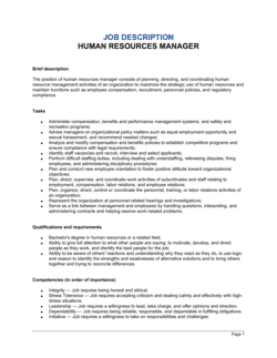 Human Resources Manager Job Description