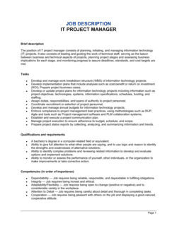 IT Project Manager Job Description