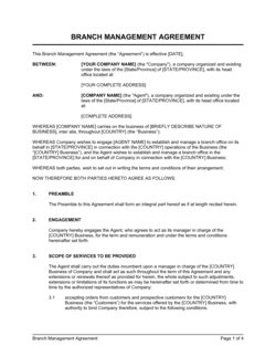 Branch Management Agreement (to Establish & Manage)