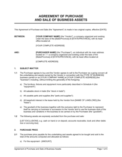 Agreement of Purchase and Sale of Business Assets