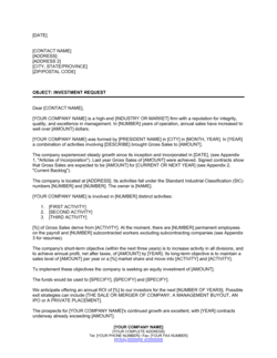 Letter of Request for an Equity Investment
