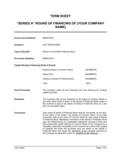 Term Sheet for Series A Round of Financing