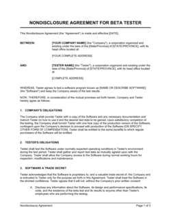 Non-Disclosure Agreement Beta Tester