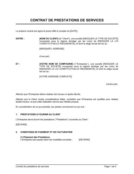 Contrat De Prestations De Services Modeles Exemples Pdf Biztree Com
