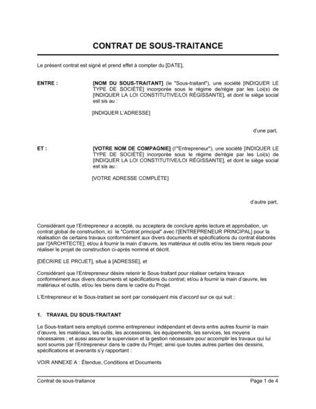 Contrat De Sous Traitance Modeles Exemples Pdf Biztree Com