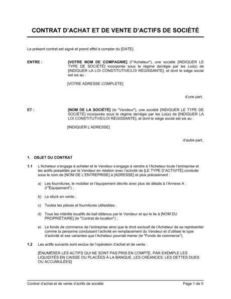 Contrat D Achat Et De Vente D Actifs De Societe Modeles Exemples Pdf Biztree Com
