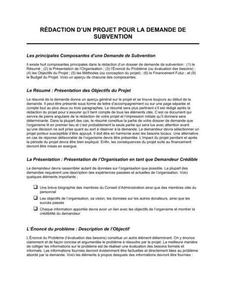 Redaction De Projet Demande De Subvention Modeles Exemples Pdf Biztree Com