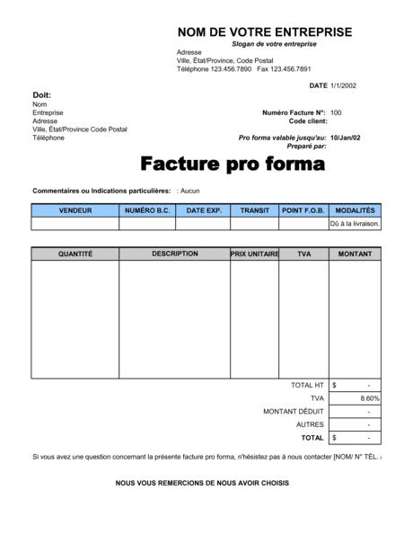 Facture pro forma - Modèles & Exemples PDF   Biztree.com