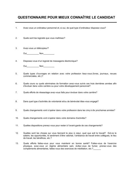 Questionnaire Pour mieux connaître le candidat - Modèles ...
