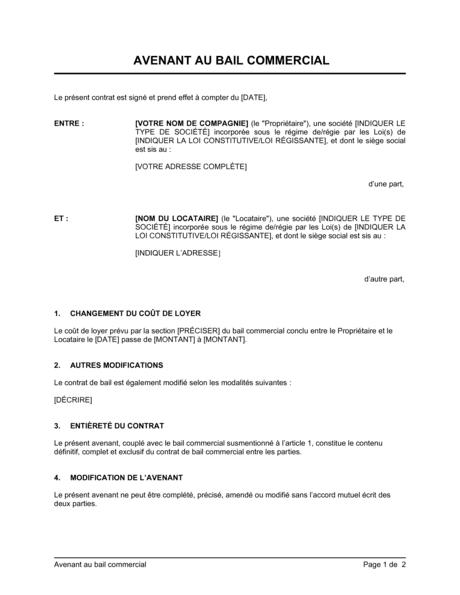 Avenant Au Bail Commercial Modeles Exemples Pdf Biztree Com