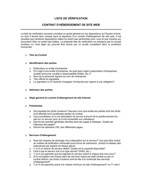 Liste De Verification Contrat D Hebergement De Site Modeles Exemples Pdf Biztree Com