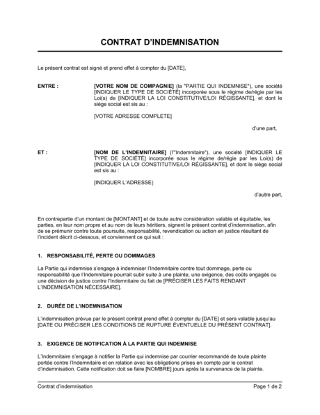 Contrat D Indemnisation Modeles Exemples Pdf Biztree Com