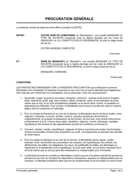 Procuration Generale Modeles Exemples Pdf Biztree Com