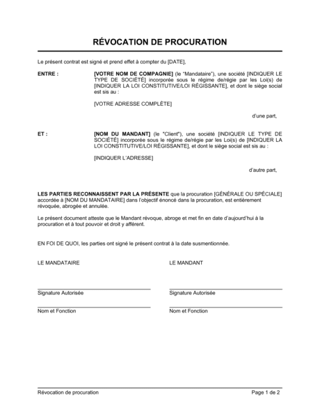 Révocation de procuration - Modèles & Exemples PDF ...