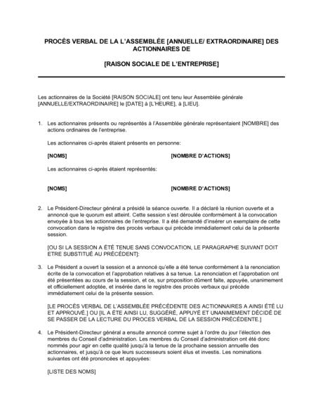 Proces Verbal De L Assemblee Generale Des Actionnaires Modeles Exemples Pdf Biztree Com