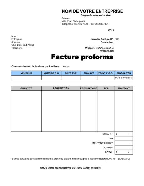 Facture proforma - Modèles & Exemples PDF | Biztree.com