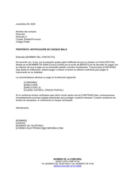 Notificación De Cheque Sfs Modelos Y Ejemplo Biztree Com