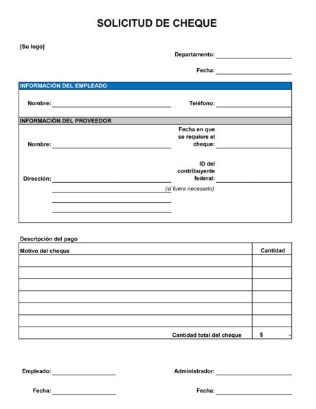 Formulario De Solicitud De Cheque Modelos Y Ejemplo Biztree Com