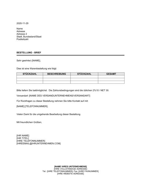 Bestellung Brief Vorlagen Und Muster Biztree Com